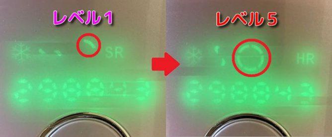 脱毛ラボホームエディションの液晶画面(レベル表示)