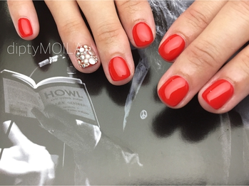 【nail】red×silver 初5500円