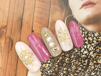 [Cafe色]フェミニンNAIL¥6000