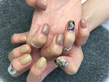 【nail】brown beige 初6040円