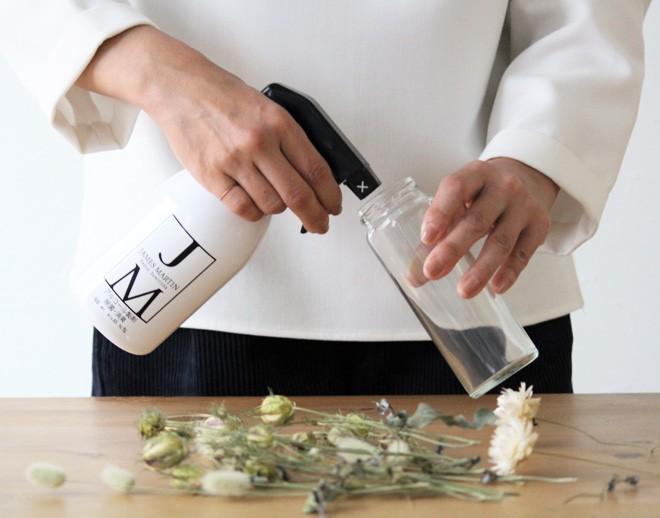 step1:アルコールスプレーなどで瓶を消毒し、しっかりと乾燥させる