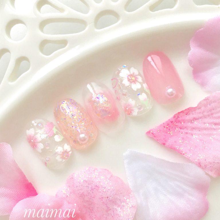 ダイソー新商品のサクラシールで♡クリアな春の桜ネイル