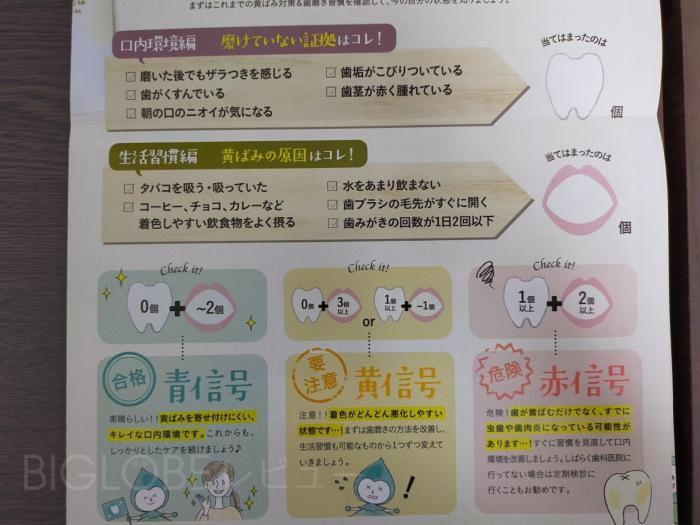歯のチェック項目